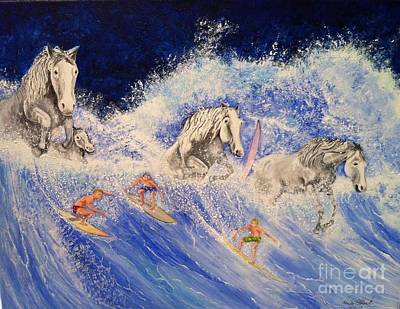 Surfing Horses Poster