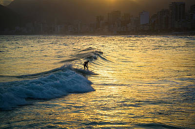 Surfing In Rio Poster by Lana Enderle