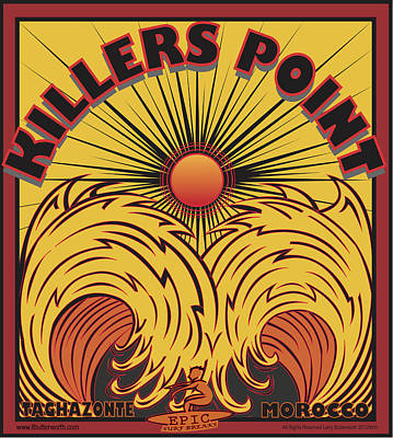 Surfing Killers Point Morocco Poster by Larry Butterworth