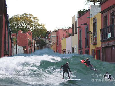 Poster featuring the photograph Surfing Quebrada by John  Kolenberg