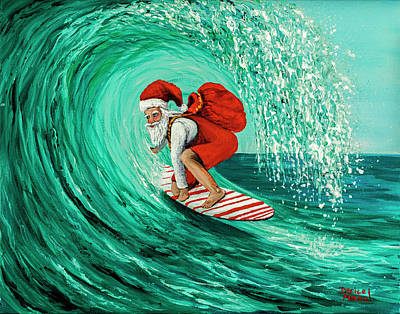 Poster featuring the painting Surfing Santa by Darice Machel McGuire