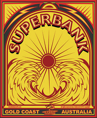 Surfing Sduperbanks Gold Coast Australia Poster by Larry Butterworth