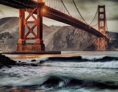 Surfing The Shadows Of The Golden Gate Bridge Poster