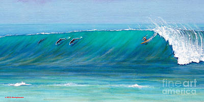 Surfing With Dolphins Poster by Jerome Stumphauzer