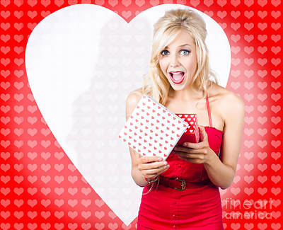 Surprised Attractive Girl With Heart Gift Box Poster
