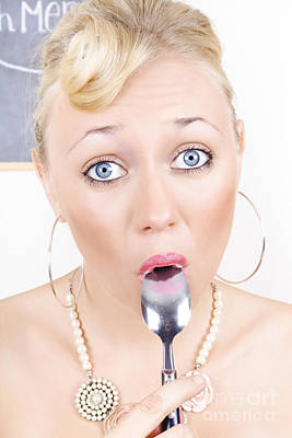 Surprised Pinup Woman Eating Dessert With Spoon Poster by Jorgo Photography - Wall Art Gallery