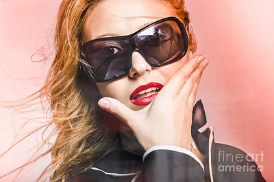 Surprised Young Woman Wearing Fashion Sunglasses Poster by Jorgo Photography - Wall Art Gallery