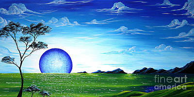 Surreal Abstract Seascape Tree Painting Blue Desire Original Art By Megan Duncanson Poster