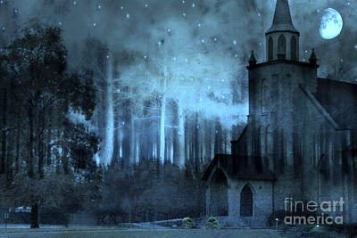 Surreal Church In Woods Blue Moon Starry Full Moon Night  Poster by Kathy Fornal
