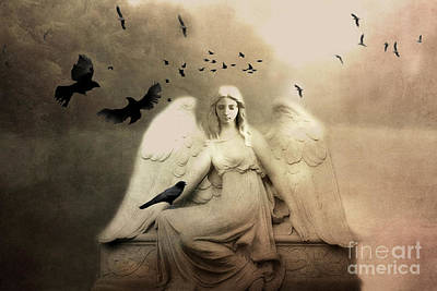 Surreal Gothic Cemetery Angel With Flying Ravens - Ethereal Surreal Gothic Angel Art Poster by Kathy Fornal