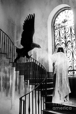 Surreal Gothic Grim Reaper With Eagle Black And White - Halloween Spooky Haunting  Poster by Kathy Fornal