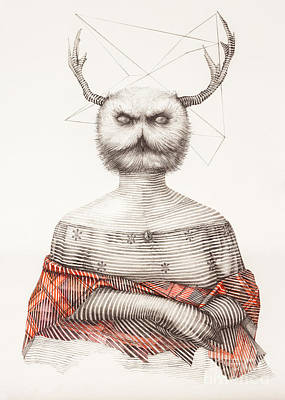 Surreal Hand Drawing Of A Lady Owl, Decorative Artwork  - Cebanenco Stanislav Poster