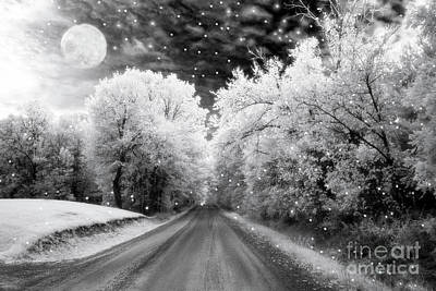 Surreal Infrared Black And White Fairytale Full Moon Nature Country Road - Ethereal Infrared Nature Poster by Kathy Fornal