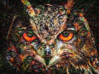 Surreal Owl Portrait Deep Dream With Dogs Poster by Matthias Hauser