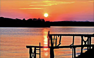 Surreal Smith Mountain Lake Dock Sunset Poster by The American Shutterbug Society