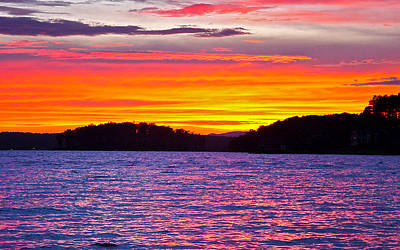 Surreal Smith Mountain Lake Sunset 2 Poster