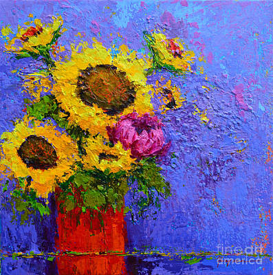 Surrounded By Joy - Modern Floral Impressionist Palette Knife Work Poster by Patricia Awapara