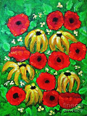 Susans And Poppies Poster