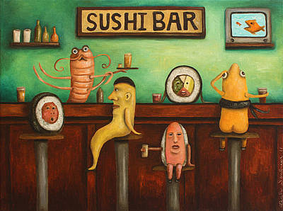 Sushi Bar Darker Tone Image Poster by Leah Saulnier The Painting Maniac