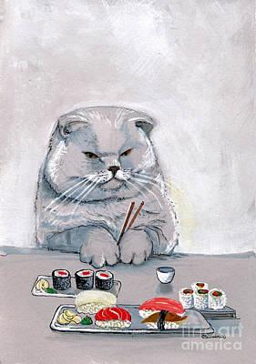 Sushi Cat The Grump Poster by Christina Siravo