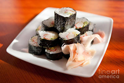 sushi with ginger Japanese food rolls sliced  Poster by Arletta Cwalina