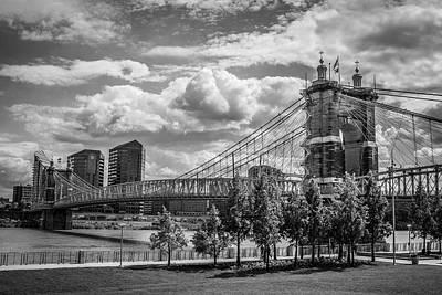 Suspension Bridge Black And White Poster by Scott Meyer