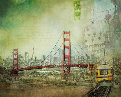 Poster featuring the photograph Suspension - Golden Gate Bridge San Francisco Photography Mixed Media Collage by Melanie Alexandra Price