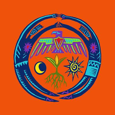 Poster featuring the digital art Sw Shaman Eagle Rain Dance by Vagabond Folk Art - Virginia Vivier