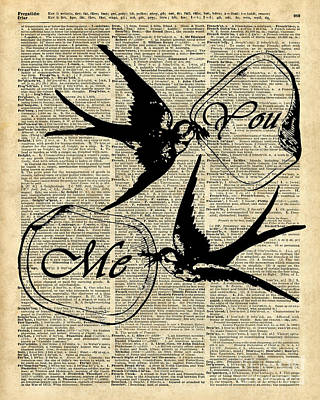 Swallows In Love,flying Birds Vintage Dictionary Art Poster by Jacob Kuch