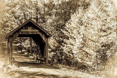 Swamp Meadow Bridge - Antiqued Poster by Lisa Kilby