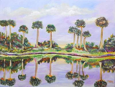 Poster featuring the painting Swamp Palms by Patricia Piffath