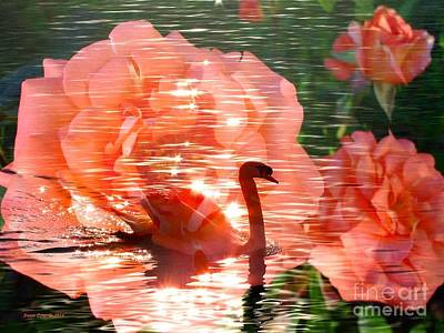 Swan In Lake With Orange Flowers Poster