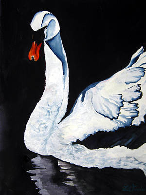 Poster featuring the painting Swan In Shadows by Lil Taylor