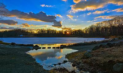 Swan Lake Sunset Poster
