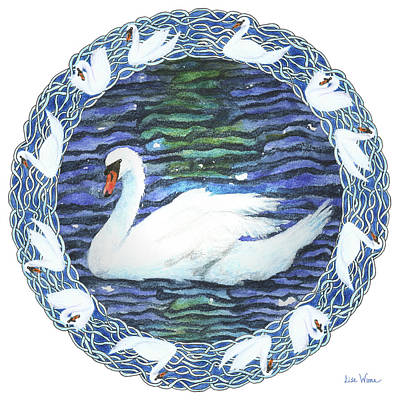 Swan With Knotted Border Poster