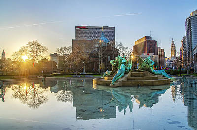 Swann Fountain At Sunrise Poster by Bill Cannon