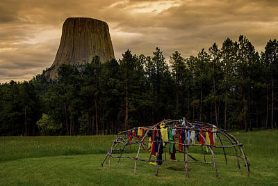 Poster featuring the photograph Sweat Lodge At Devil's Tower by Gary Lengyel