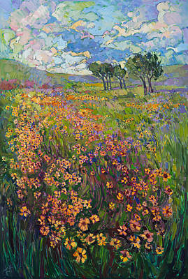 Poster featuring the painting Sweep Of Wildflowers by Erin Hanson