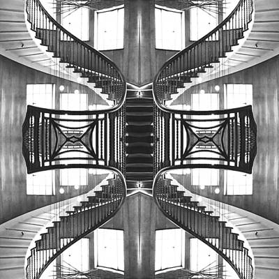 Sweeping Monochrome Staircase Poster by Steve Swindells
