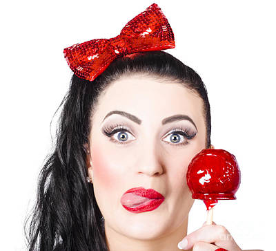 Sweet Pin-up Girl Eating A Candy Toffee Apple Poster
