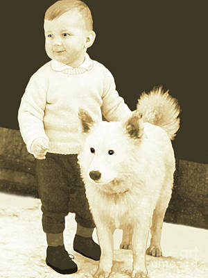 Sweet Vintage Toddler With His White Mutt Poster by Marian Cates
