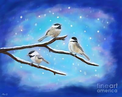 Poster featuring the painting Sweetest Winter Birdies by Leslie Allen