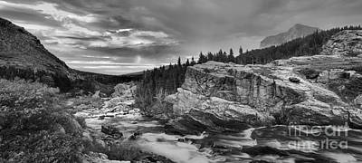 Swiftcurrent Falls Sunrise Black And White Poster