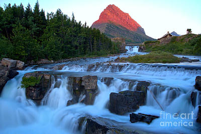 Swiftcurrent Falls Sunrise Glow Poster