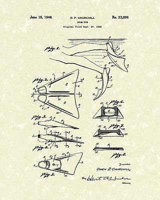 Swim Fin 1948 Patent Art Poster