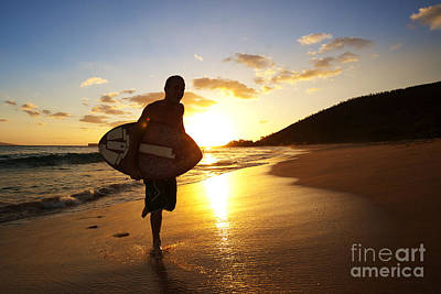 Swimboarding At Sunset Poster
