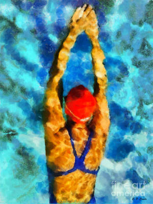 Swimmer Poster by Elizabeth Coats