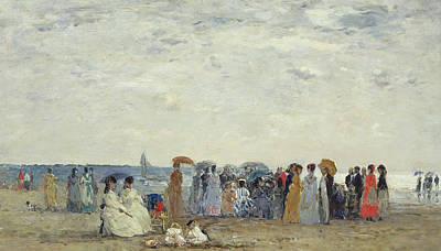 Swimmers On Trouville Beach Poster by Eugene Louis Boudin