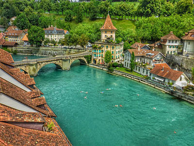 Poster featuring the photograph Swimming The River Aare , Bern  by Connie Handscomb