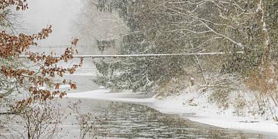 Swinging Bridge In Snow Storm Poster by Thomas R Fletcher
